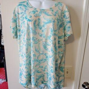 Turquoise feathered tshirt